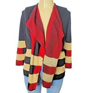 Black Label By Evan Picone Black & Red Open Front Cardigan Size XL